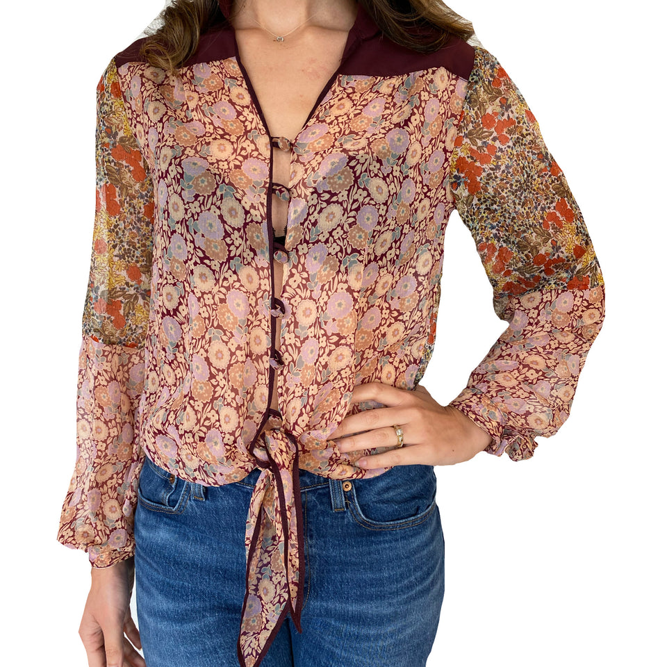 Joey Wölffer Reworked Blouse - Burgundy Florals