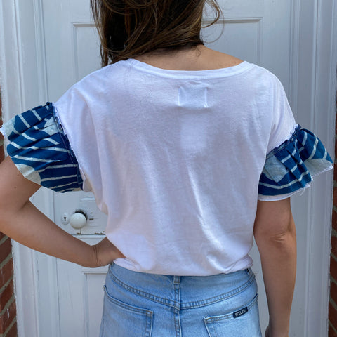 Joey Wölffer Reworked Ruffle Tee - Indigo Dots
