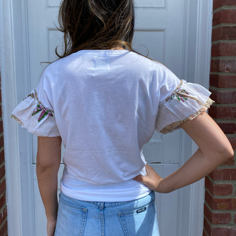 Joey Wolffer Reworked Ruffle Tee - White Palm