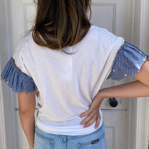 Joey Wölffer Reworked Ruffle Tee - Indienne Blue