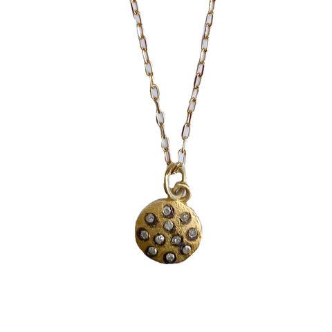 Paula Rosen Gold Dotted Diamond Mini Disc Necklace