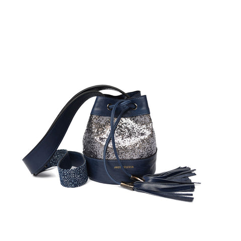 Joey Wölffer Mini Bucket Bag - Silver Glitter
