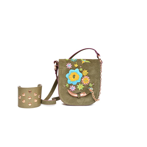 Joey Wölffer Mini Bag - Moss Floral Embroidered