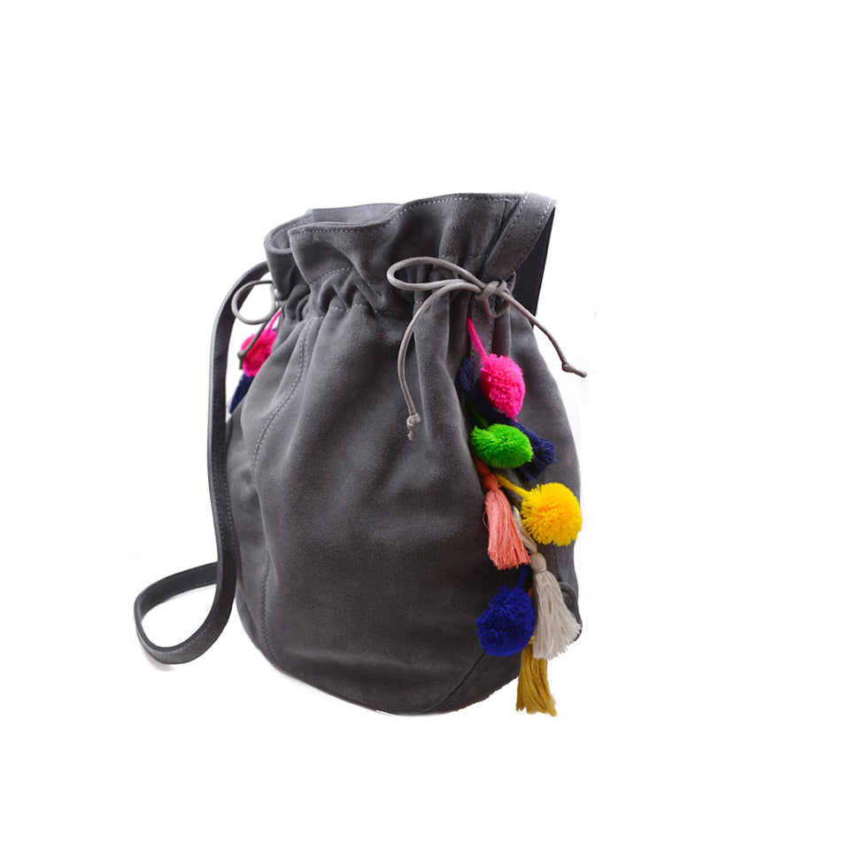 Joey Wölffer Pom Pom Bucket Bag - Grey