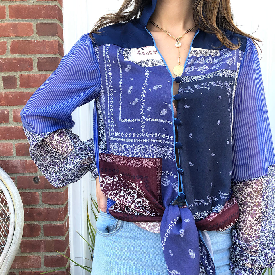 Joey Wölffer Reworked Blouse - Bandana Patchwork
