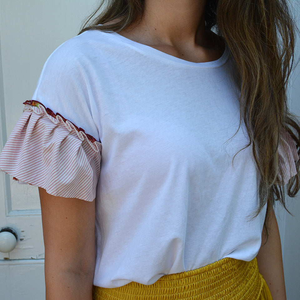 Joey Wölffer Reworked Ruffle Tee - Candy Striper
