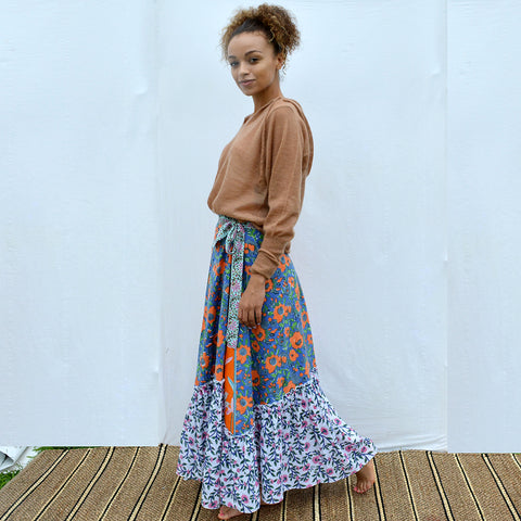Joey Wölffer Reworked Ruffle Skirt - Orange Floral
