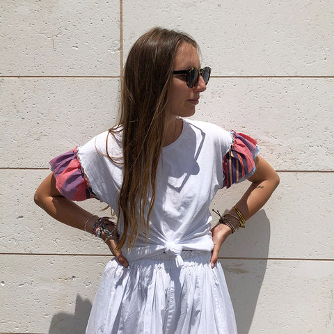 Joey Wölffer Reworked Ruffle Tee - Pink Stripe