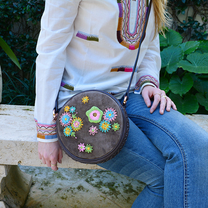 Joey Wölffer Round Bag - Mocha Floral Embroidered