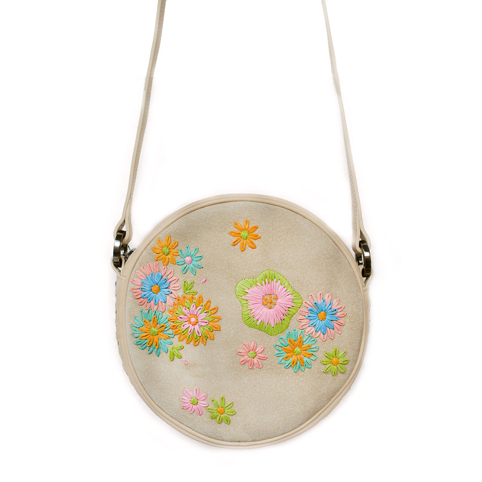 Joey Wölffer Round Bag - Sand Floral Embroidered