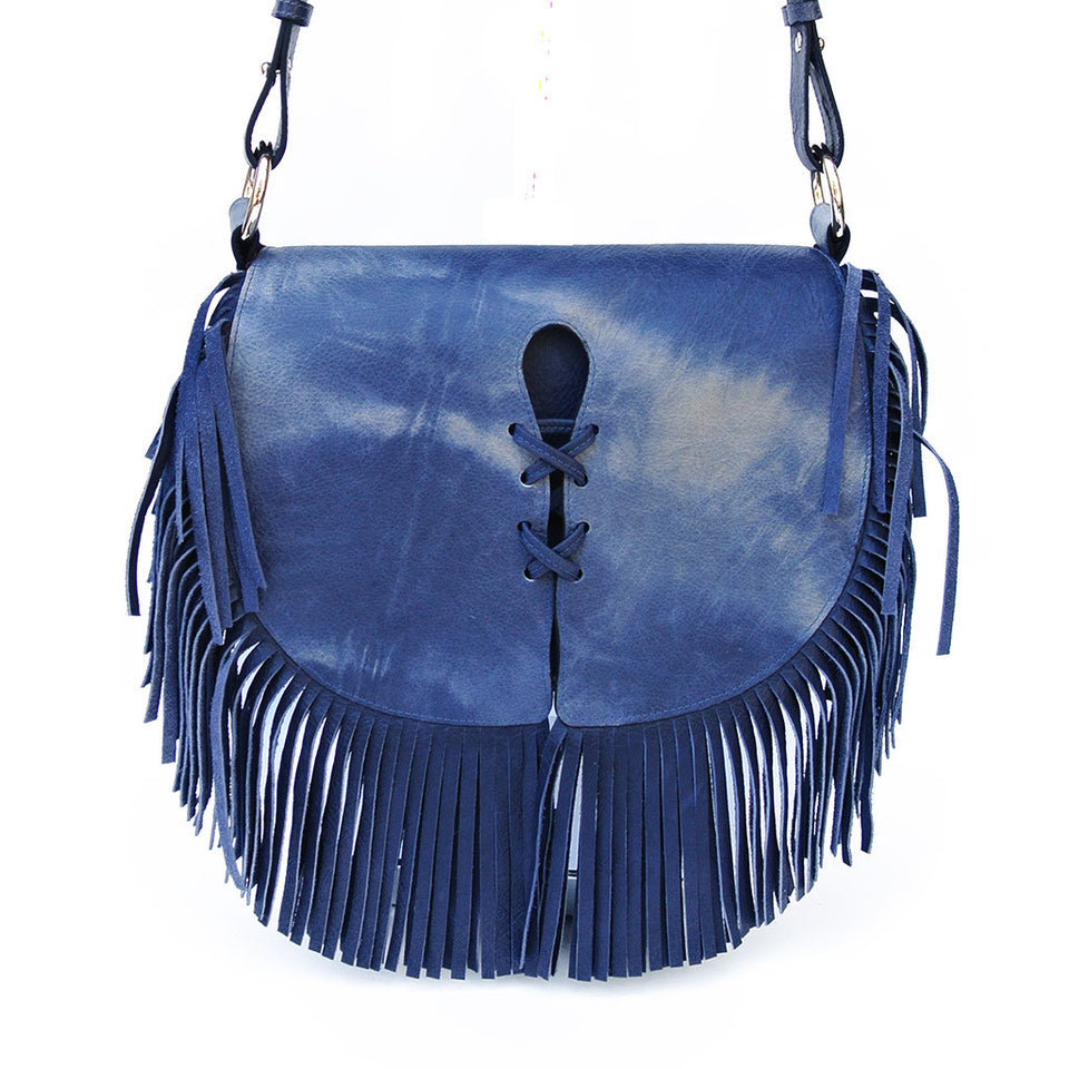 Joey Wölffer Classic Fringe Bag - Blue Tie Dye