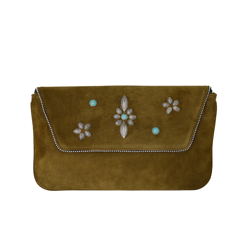 Joey Wölffer Embellished Clutch - Green Tobacco