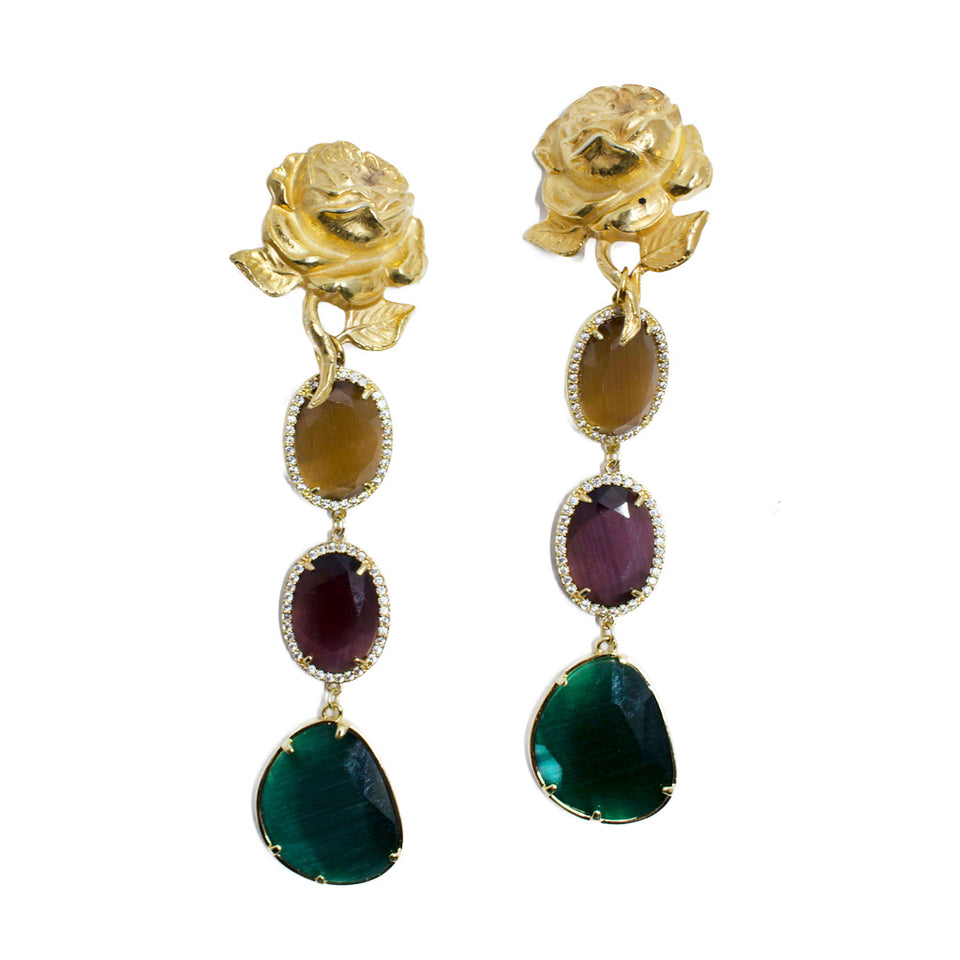 Katerina Psoma Rose and Cat's Eye Clip On Earring