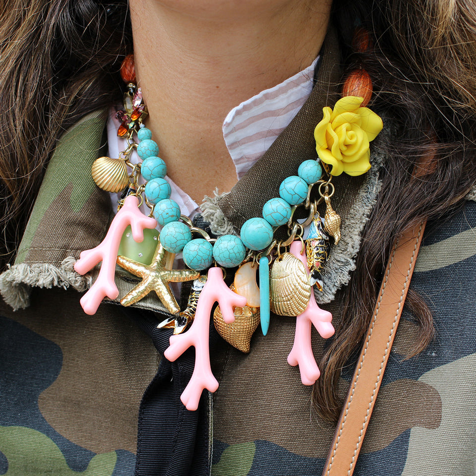 Katerina Psoma Coral Maritime Charm Necklace