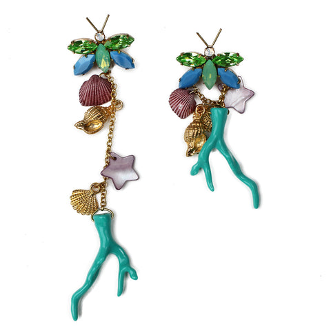 Katerina Psoma Crystal Broach Coral Earrings - Blue