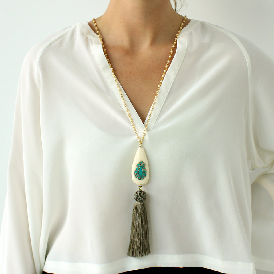 Katerina Psoma Grey Amulet Tassel Necklace