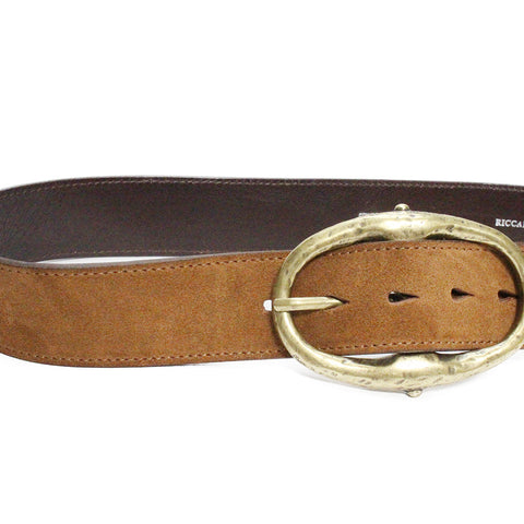 Riccardo Forconi Cognac Oval Buckle Belt 1115