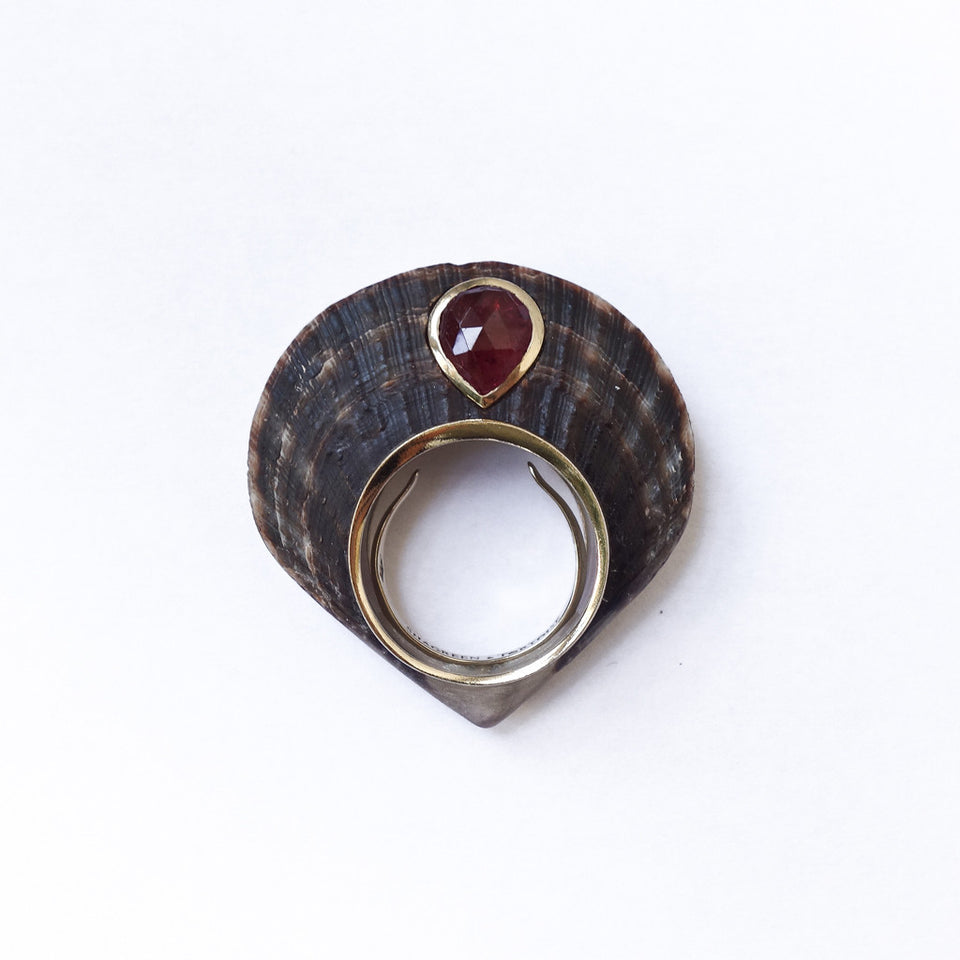 Shagreen and Tortoise Brownscale Ring - Pink Tourmaline
