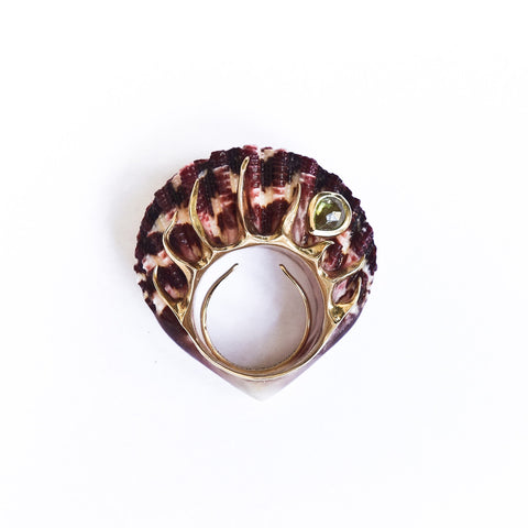 Shagreen and Tortoise Purple Dragon Ring - Green Garnet Vermeil