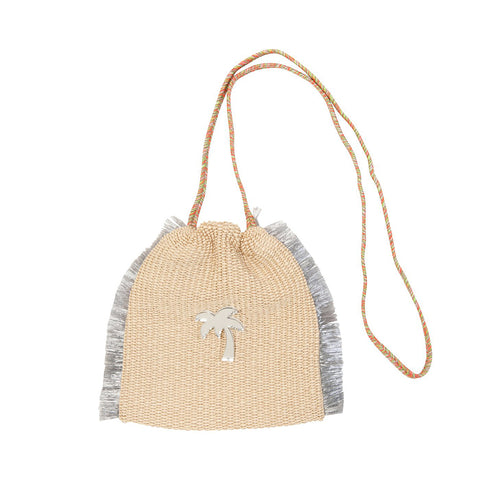 Koku Sandy Mini Bucket Bag - Natural Raffia/Palm Tree