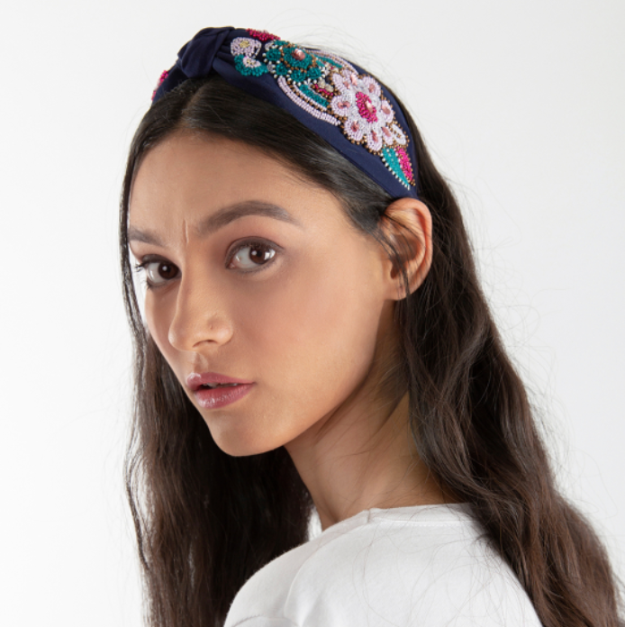 Olivia Dar Flower Headband -  Navy