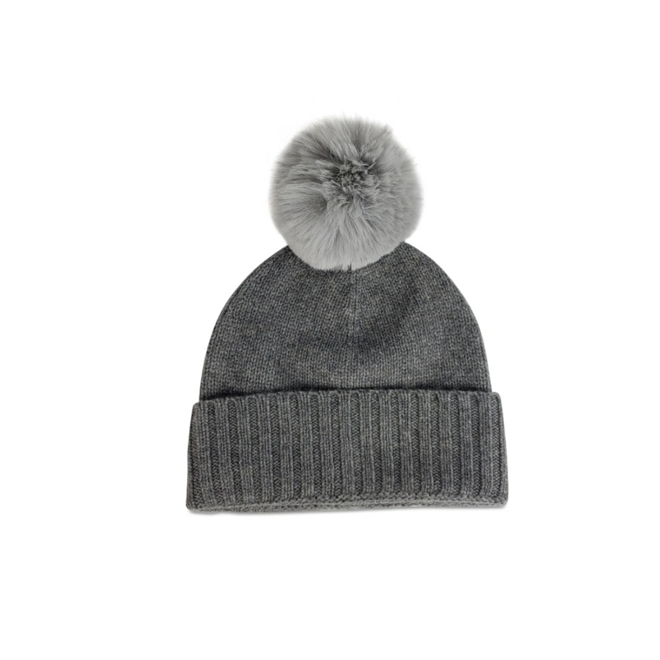 Hat Attack Cashmere Hat with Fur Pom - Charcoal
