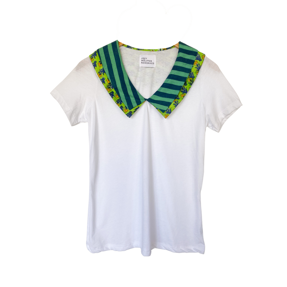 Joey Wölffer Collared T - Shirt - Grassy Stripe