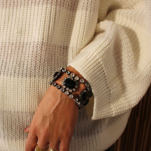 Vintage Black Stone and CC Cuff