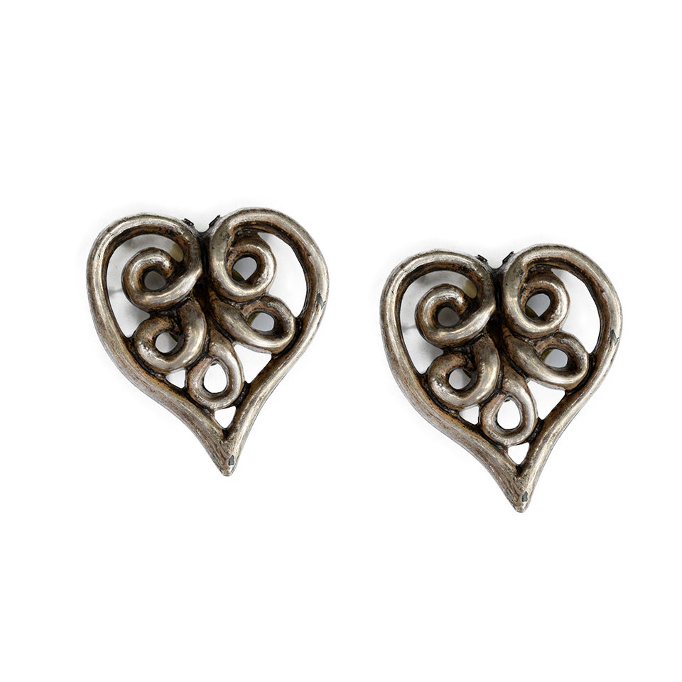 Vintage Silver Heart Clip Ons