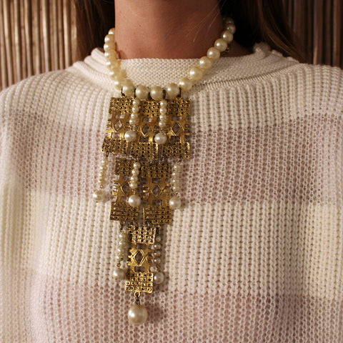 Vintage Pearl and Gold Statement Necklace