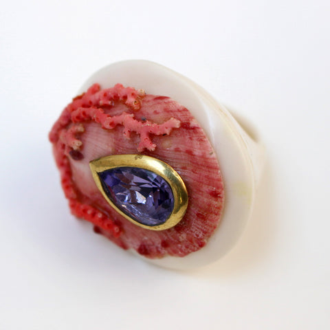 Vintage Pink Shell Ring