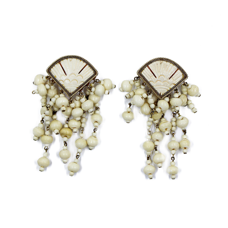Vintage White Wood Earrings