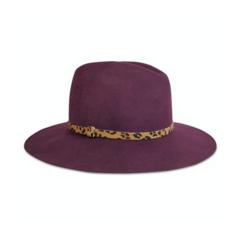 Hat Attack Madison Hat - Burgundy with Leopard Band