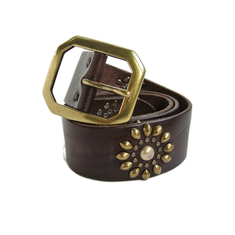 Riccardo Forconi Brown Flower Stud Belt