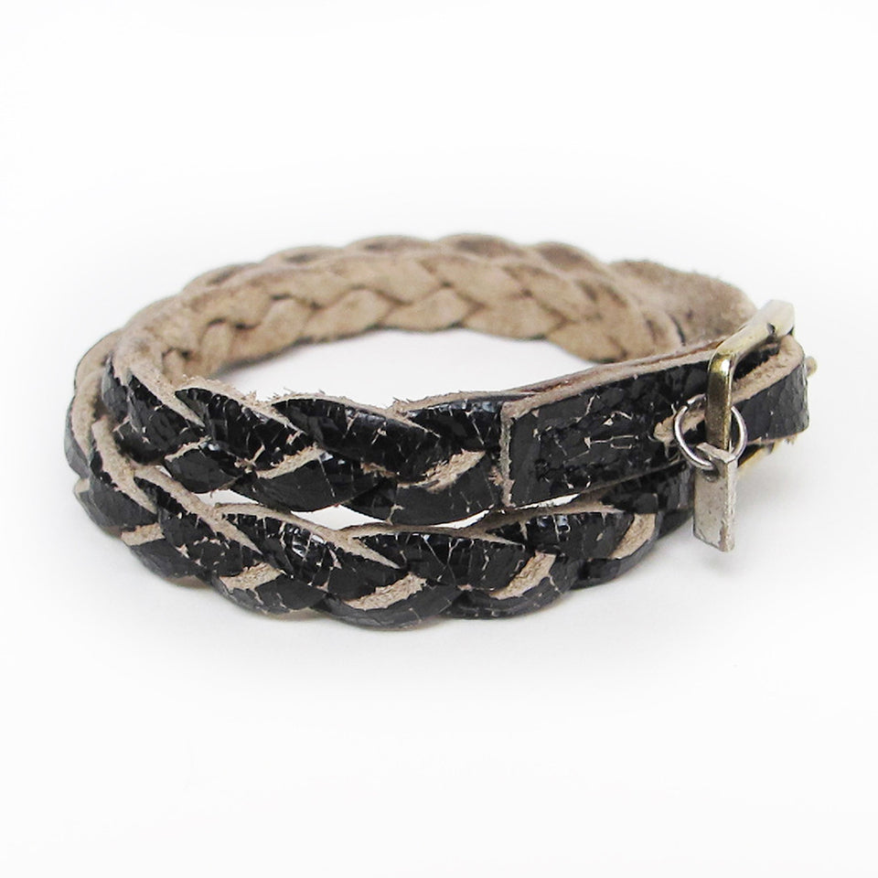 Riccardo Forconi Cracked Leather Braided Bracelet - Black