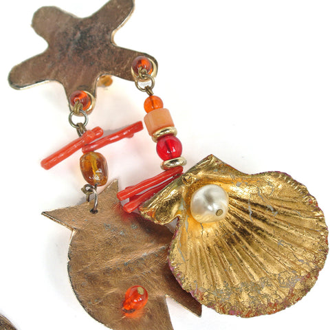 Vintage Under The Sea Clip On Earrings