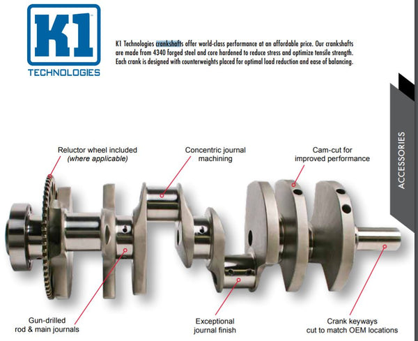 K1 032BCJ880, 032BCJ940 Mitsubishi 4G63 7 Bolt Crankshaft SHIP FREE LOWER 48!