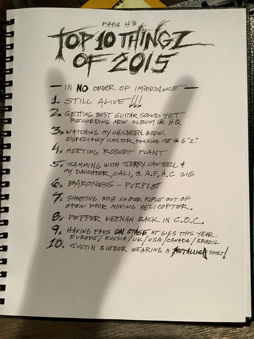 James Hetfield's Top-10 things of 2015