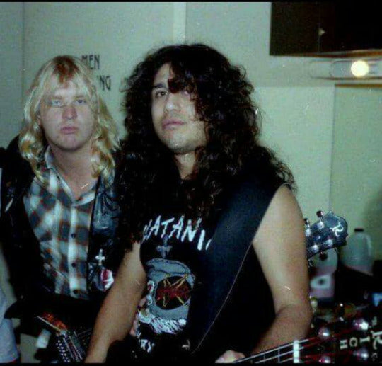 Old-school Slayer Jeff Hanneman and Tom Araya backstage