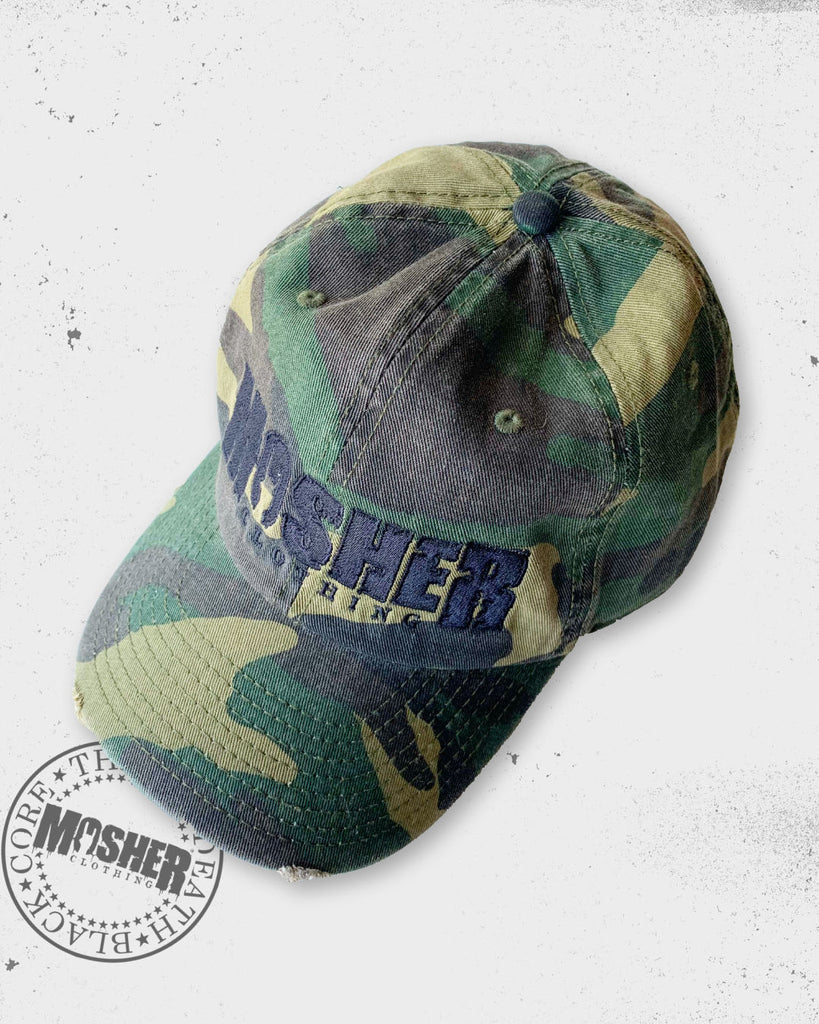 Mosher Clothing's Camouflage Cap with embroided logo for metalheads