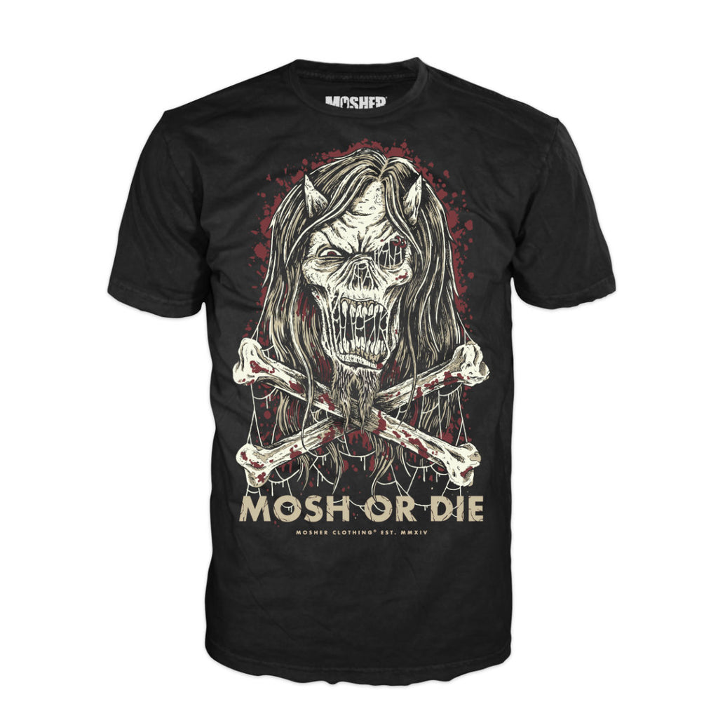 Mosh or Die tshirt for metalheads by Mosher Clothing