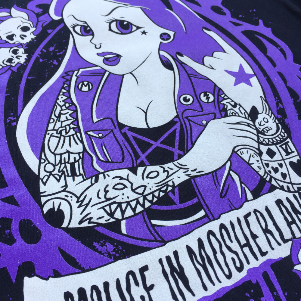 """Malice in Mosherland"" - Girlie tshirt for metalhead girls"