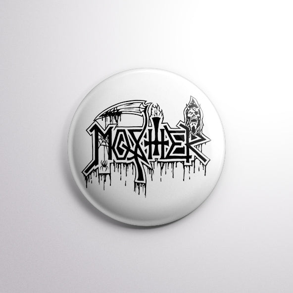 Death Mosher pin (White) for metalheads worldwide