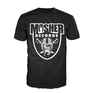 Mosher Records t-shirt for metalheads by Mosher Clothing, inspired by Oakland Raiders