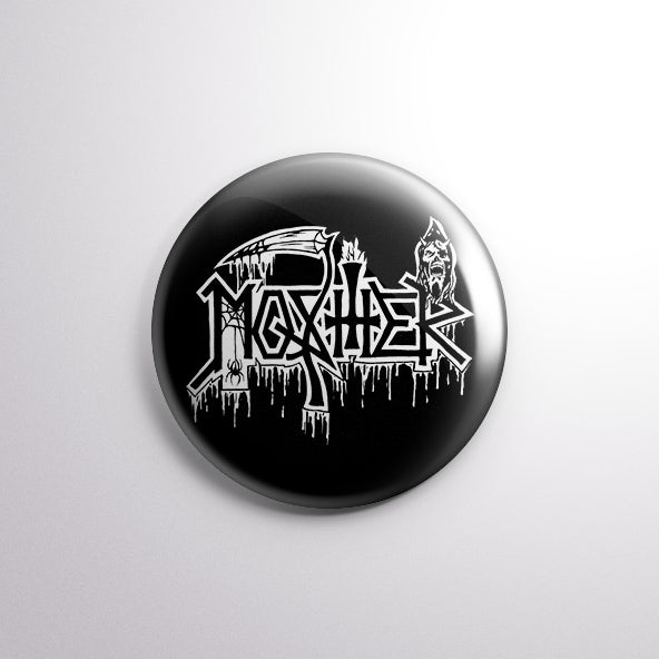 Death Mosher Pete pin (White) for metalheads worldwide