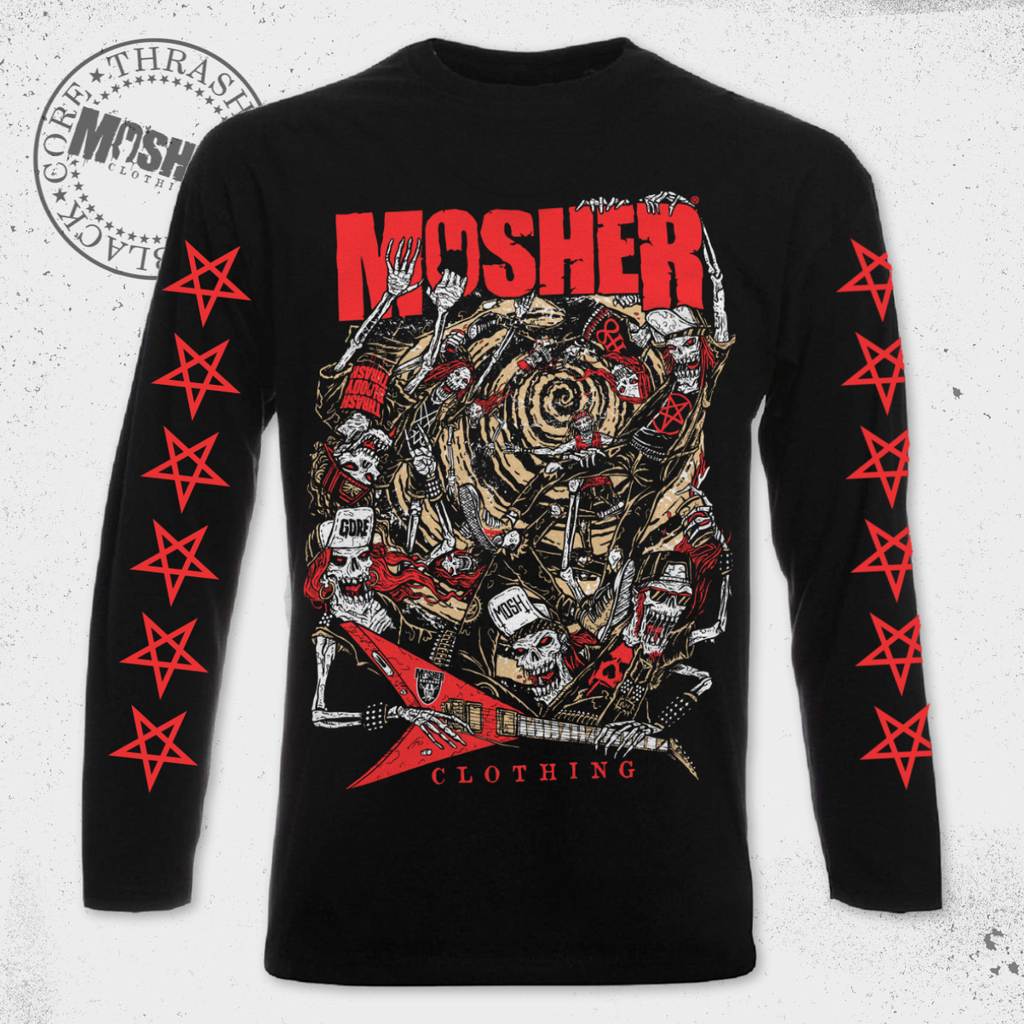 """Moshnado"" long sleeved t-shirt for metalheads worldwide by Mosher Clothing"