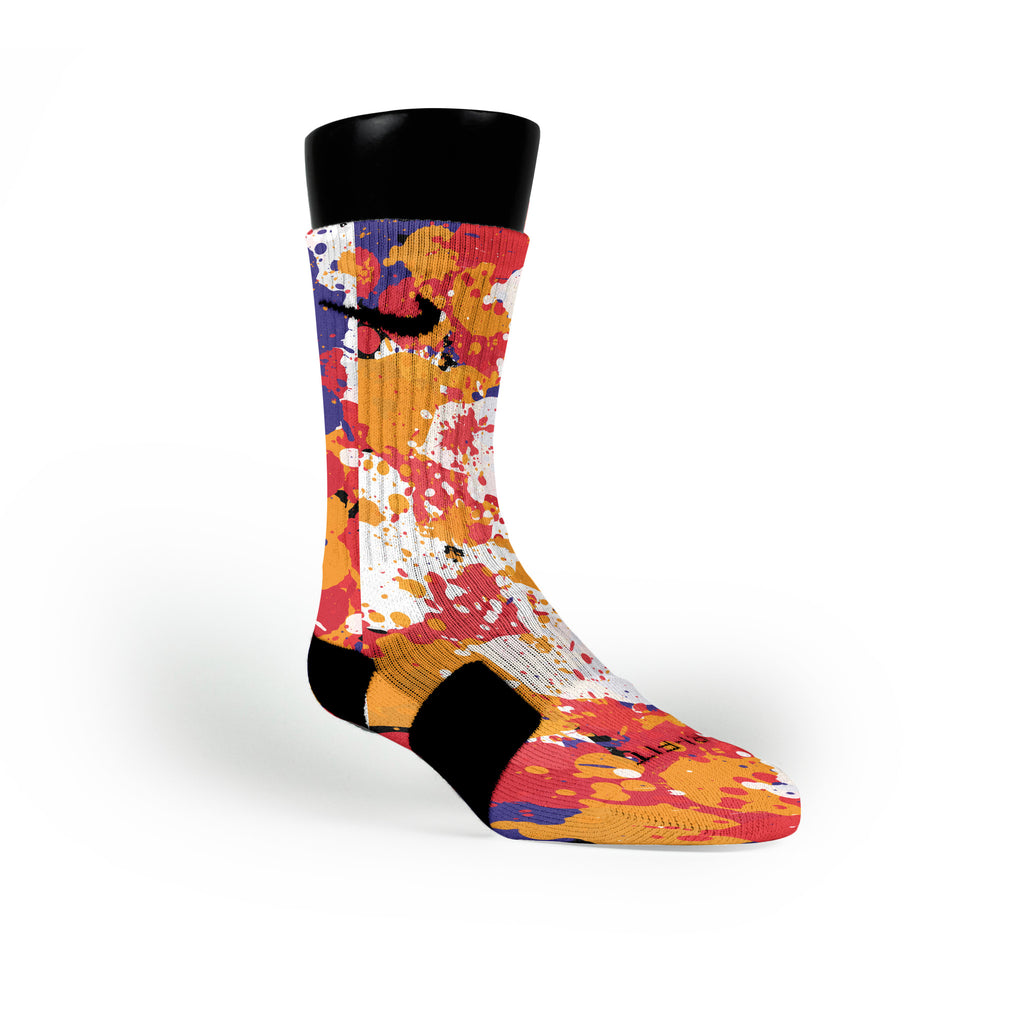 3 Peat Splatter Custom Nike Elite Socks