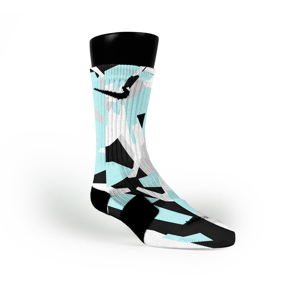 Blue & Black Hardwood Camo Custom Nike Elite Socks