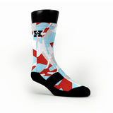 Blue & Red Hardwood Camo Custom HoopSwagg Socks