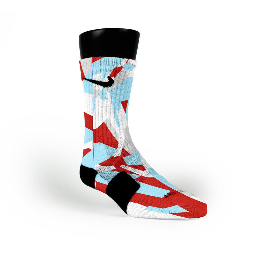 Blue & Red Hardwood Camo Custom Nike Elite Socks